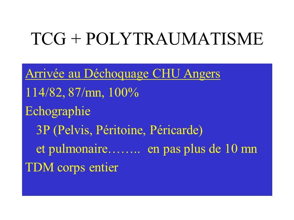 TCG + POLYTRAUMATISME Arrivée au Déchoquage CHU Angers 114/82, 87/mn, 100% Echographie 3P (Pelvis, Péritoine, Péricarde) et pulmonaire…….. en pas plus