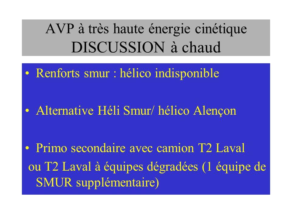 AVP à très haute énergie cinétique DISCUSSION à chaud Renforts smur : hélico indisponible Alternative Héli Smur/ hélico Alençon Primo secondaire avec