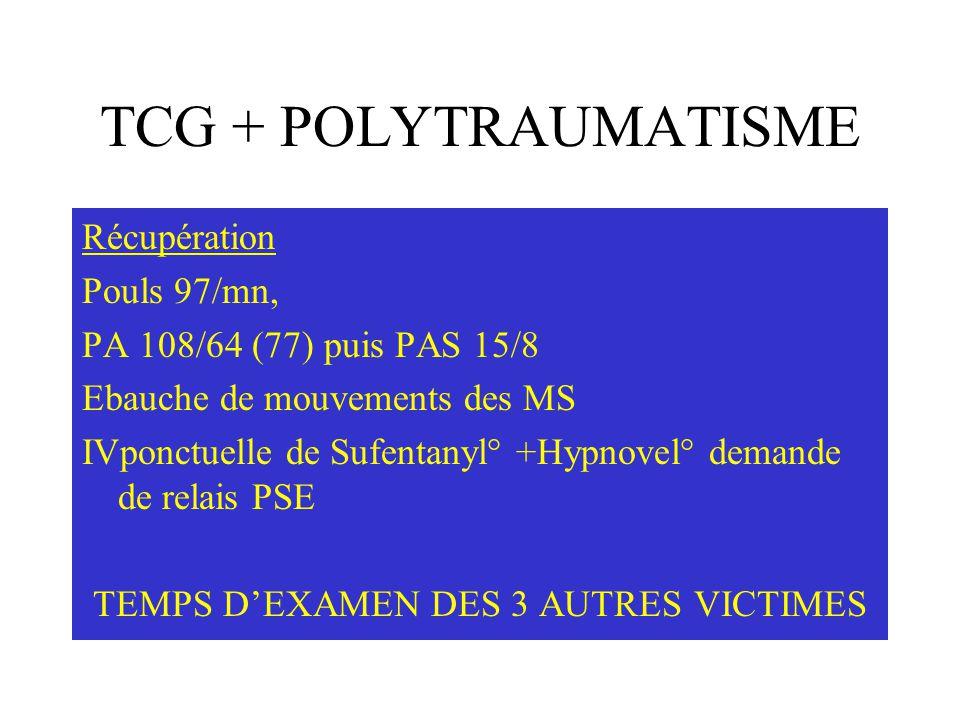 TCG + POLYTRAUMATISME Récupération Pouls 97/mn, PA 108/64 (77) puis PAS 15/8 Ebauche de mouvements des MS IVponctuelle de Sufentanyl° +Hypnovel° deman