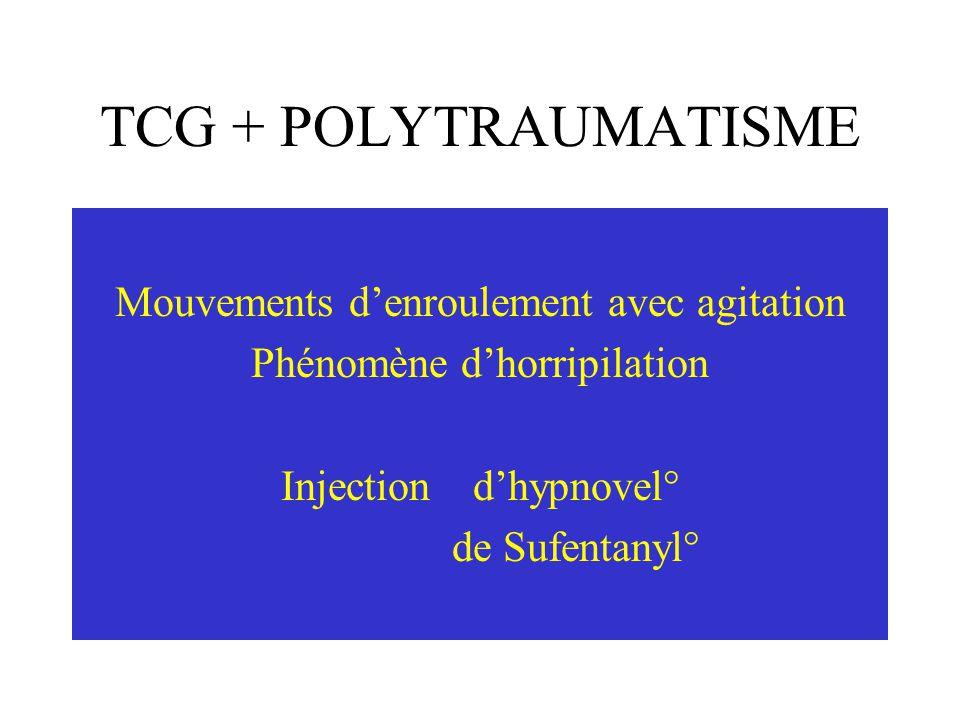TCG + POLYTRAUMATISME Arrivée du camion de T2 Poursuite du remplissage Mise soussufentanyl° (10 /h) et hypnovel°( 5 puis 2 mg/h) Question de la Nor-Adrénaline