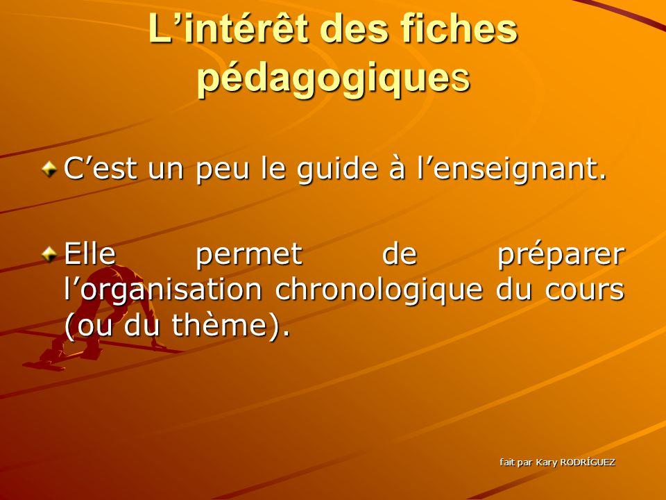Lintérêt des fiches pédagogiques Cest un peu le guide à lenseignant.