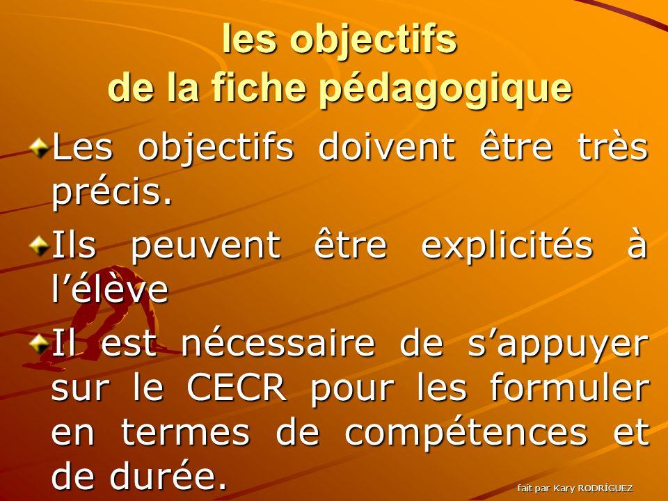 les objectifs de la fiche pédagogique Les objectifs doivent être très précis.