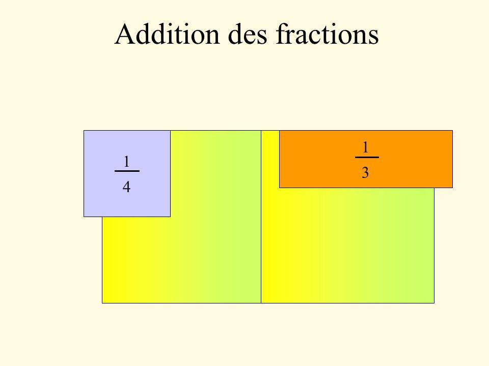 Addition des fractions = 5 9 = 4 3 - 7 9 12 - 7 99 = 7 = 11 6 - 5 4 22 - 15 12 = 11 24 = 9 8 - 2 3 27 + 16 24 = 5 126 = 23 42 - 32 63 69 - 64 126
