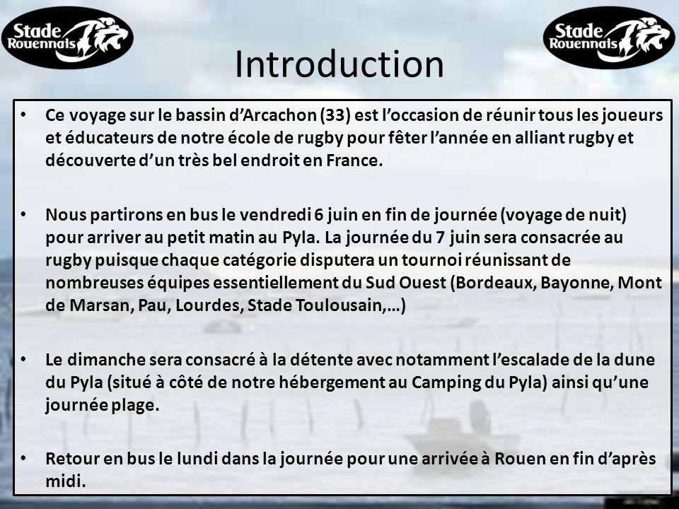 Programme détaillé 6 juin 2014 o Départ en bus à 21h au Stade Mermoz – 2 bus pour 105 personnes o Rendez vous à 20h30 au Stade 7 juin 2014 o Arrivée vers 07h00 heures pour le petit déjeuner o 9h30 début des tournois pour toutes les catégories 8 juin 2014 o Journée détente o Escalade de la dune du Pyla, plage,… 9 juin 2014 o 8h00 : retour vers Rouen o Arrivée prévue vers 18 heures