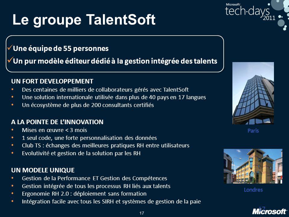 17 Le groupe TalentSoft 17 Paris Londres UN FORT DEVELOPPEMENT Des centaines de milliers de collaborateurs gérés avec TalentSoft Une solution internat