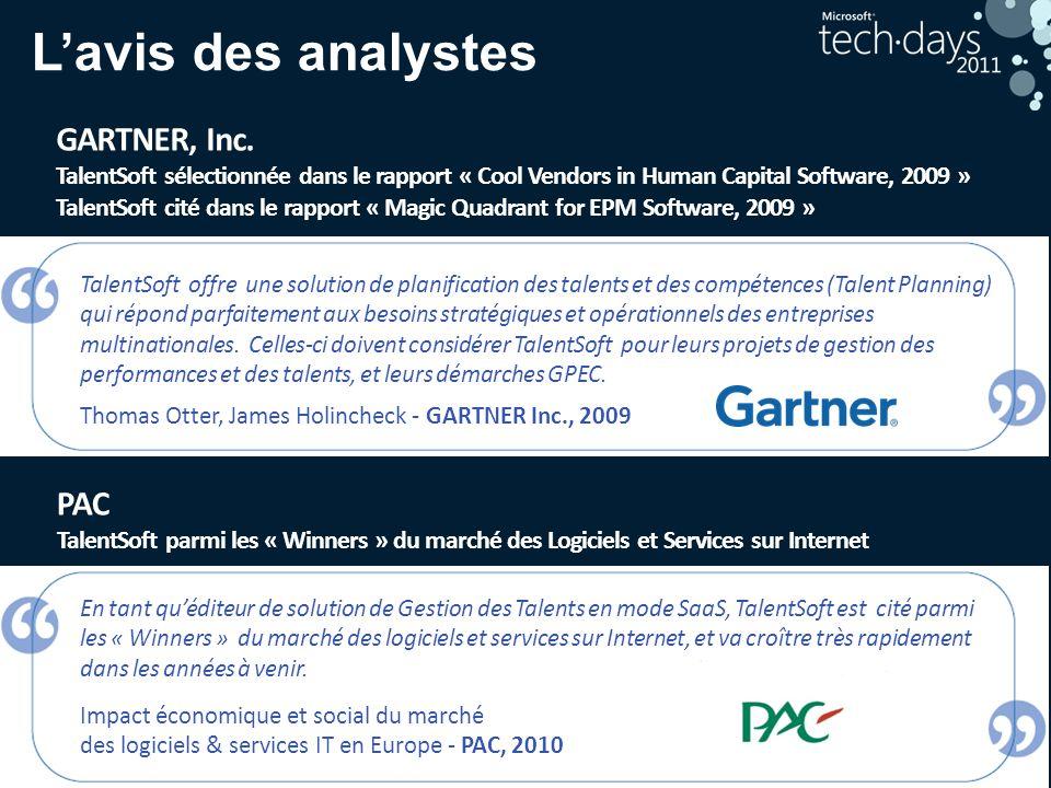 18 Lavis des analystes PAC TalentSoft parmi les « Winners » du marché des Logiciels et Services sur Internet GARTNER, Inc. TalentSoft sélectionnée dan