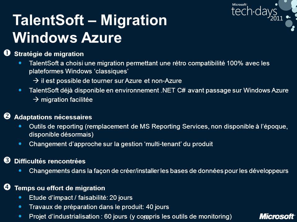24 TalentSoft – Migration Windows Azure Stratégie de migration TalentSoft a choisi une migration permettant une rétro compatibilité 100% avec les plat
