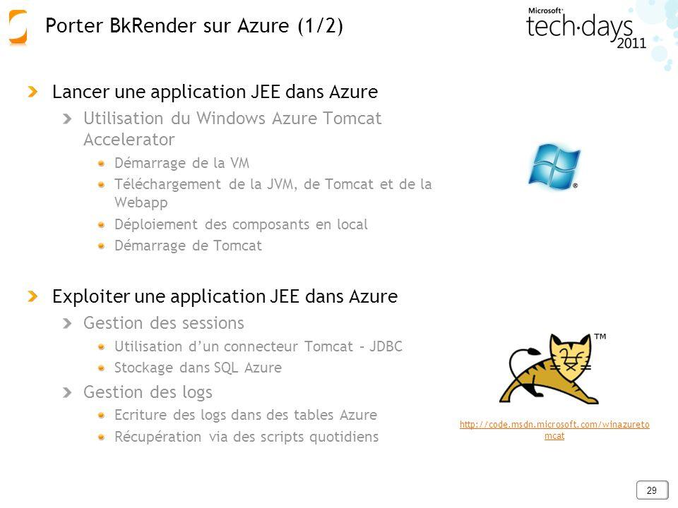 29 Lancer une application JEE dans Azure Utilisation du Windows Azure Tomcat Accelerator Démarrage de la VM Téléchargement de la JVM, de Tomcat et de