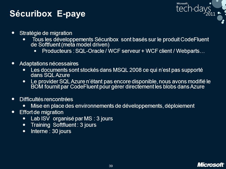 39 Sécuribox E-paye Stratégie de migration Tous les développements Sécuribox sont basés sur le produit CodeFluent de Softfuent (meta model driven) Pro