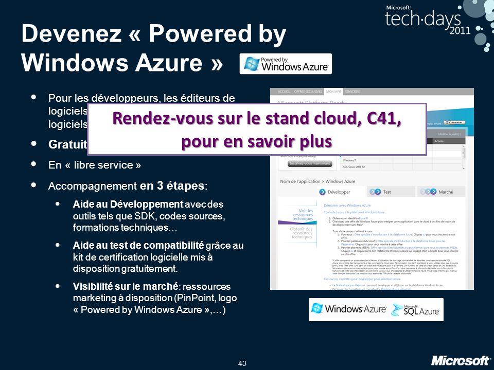 43 Devenez « Powered by Windows Azure » Pour les développeurs, les éditeurs de logiciels… tous ceux qui créent des logiciels Gratuit et en français En