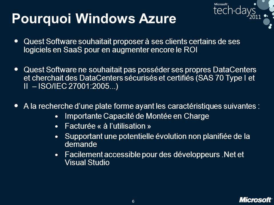 6 Pourquoi Windows Azure Quest Software souhaitait proposer à ses clients certains de ses logiciels en SaaS pour en augmenter encore le ROI Quest Soft