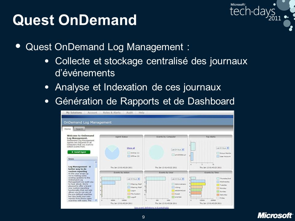 9 Quest OnDemand Quest OnDemand Log Management : Collecte et stockage centralisé des journaux dévénements Analyse et Indexation de ces journaux Généra