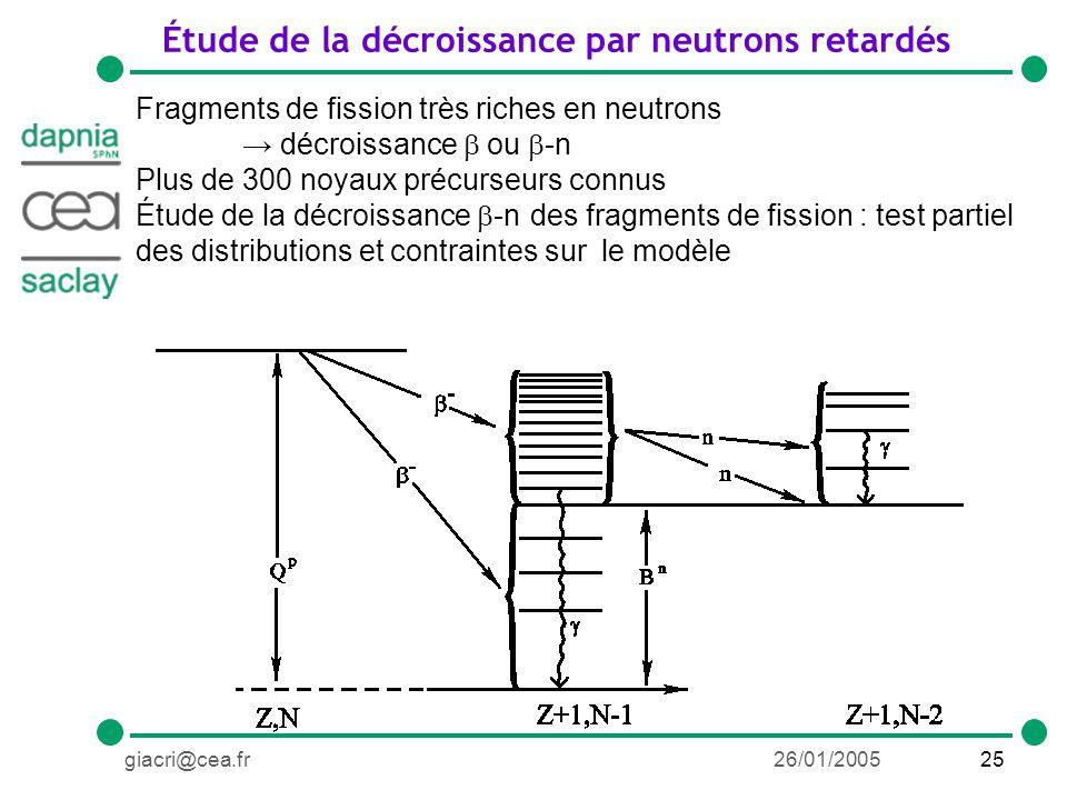 25giacri@cea.fr26/01/2005 Étude de la décroissance par neutrons retardés Fragments de fission très riches en neutrons décroissance ou -n Plus de 300 noyaux précurseurs connus Étude de la décroissance -n des fragments de fission : test partiel des distributions et contraintes sur le modèle