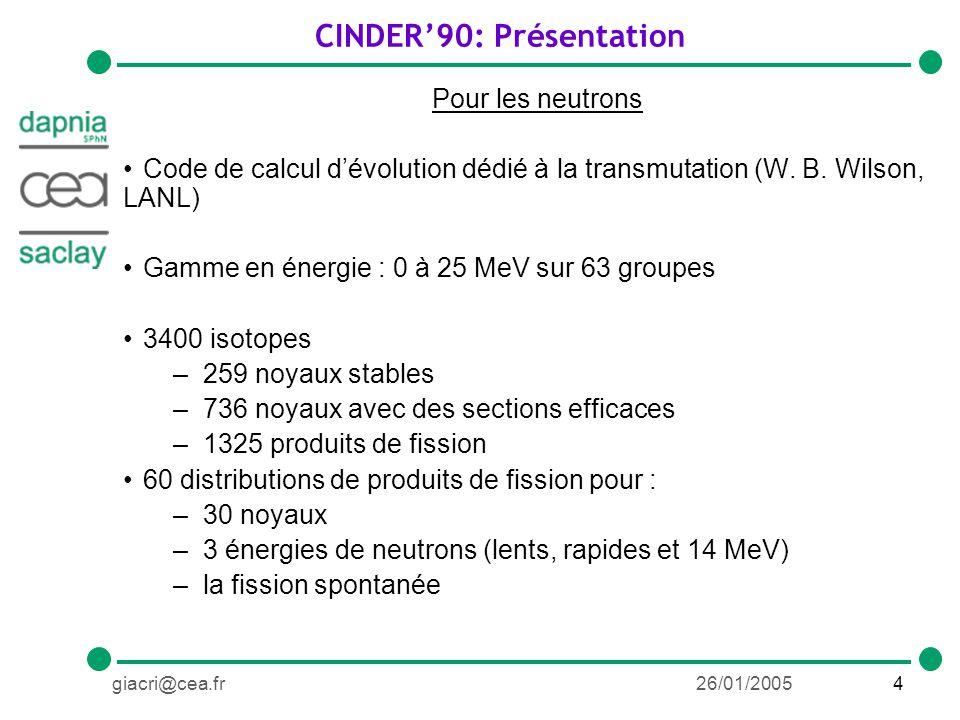 5giacri@cea.fr26/01/2005 CINDER90: Extension aux photons (travail de thèse) Pour les photons Même gamme en énergie que pour les neutrons Mêmes isotopes 25 groupes au lieu de 63 –Pas entre chaque groupe : 1 MeV 90 distributions de fragments de fission –30 noyaux –3 spectres de photons : Bremsstrahlung E max : 10, 15 et 25 MeV