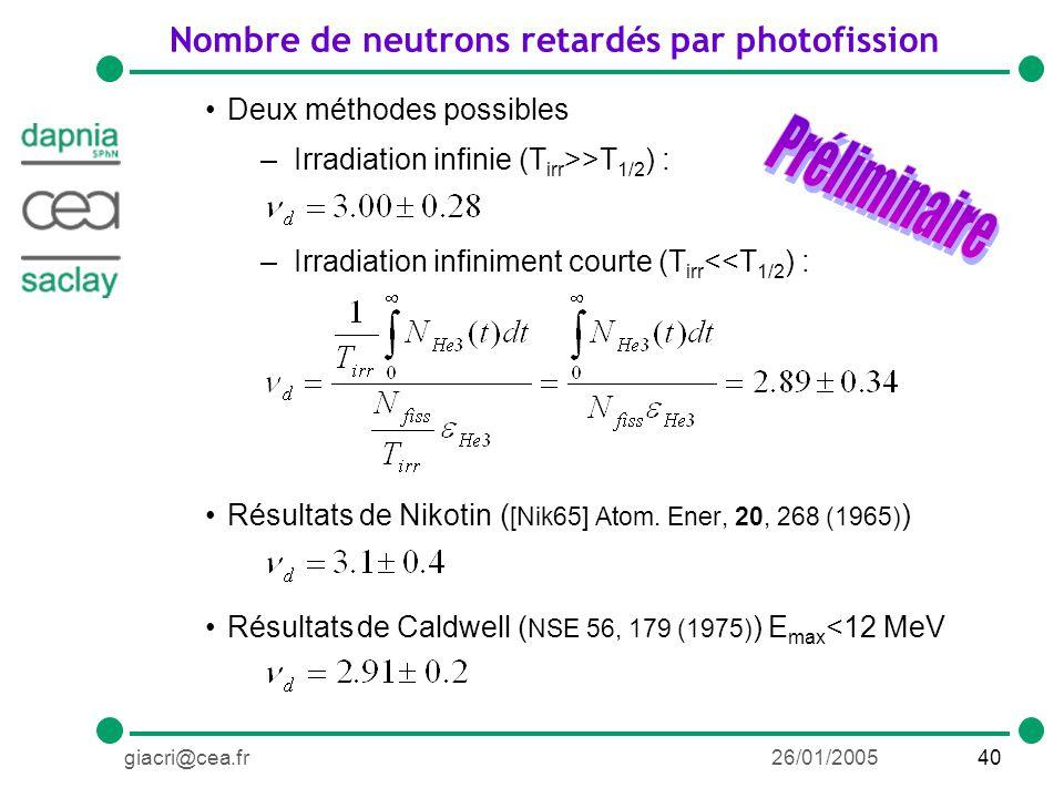 40giacri@cea.fr26/01/2005 Deux méthodes possibles –Irradiation infinie (T irr >>T 1/2 ) : –Irradiation infiniment courte (T irr <<T 1/2 ) : Résultats de Nikotin ( [Nik65] Atom.
