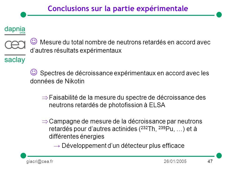 47giacri@cea.fr26/01/2005 Conclusions sur la partie expérimentale Mesure du total nombre de neutrons retardés en accord avec dautres résultats expérimentaux Spectres de décroissance expérimentaux en accord avec les données de Nikotin Faisabilité de la mesure du spectre de décroissance des neutrons retardés de photofission à ELSA Campagne de mesure de la décroissance par neutrons retardés pour dautres actinides ( 232 Th, 239 Pu, …) et à différentes énergies Développement dun détecteur plus efficace