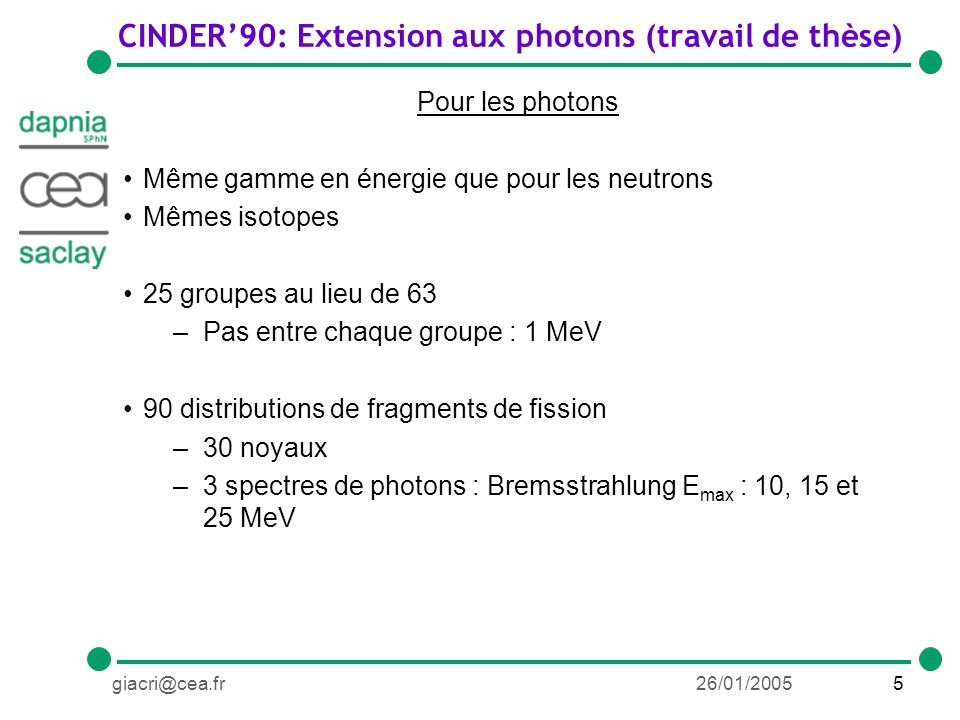 46giacri@cea.fr26/01/2005 Conclusions sur la bibliothèque Amélioration du calcul de sections efficaces par la modification du modèle de la photoabsorption dans HMS-ALICE Évaluations de sections efficaces photonucléaires pour 237 Np, 240 Pu et 241 Am avec GNASH; réévaluations 235 U, 238 U et 239 Pu Ajout dans ENDF VII Ajout de toutes les sections efficaces photonucléaires dans la bibliothèque de CINDER90 Structure en place pour lajout des fragments de fission Résultats encourageants pour les distributions en masse Besoins de plus de données expérimentales pour mieux contraindre le modèle Mesure de neutrons retardés Première utilisation dans le cadre du calcul dactivation pour le démantèlement du LURE (Orsay) Mise à disposition de la bibliothèque fin 2005 Extension de la bibliothèque à 150 MeV