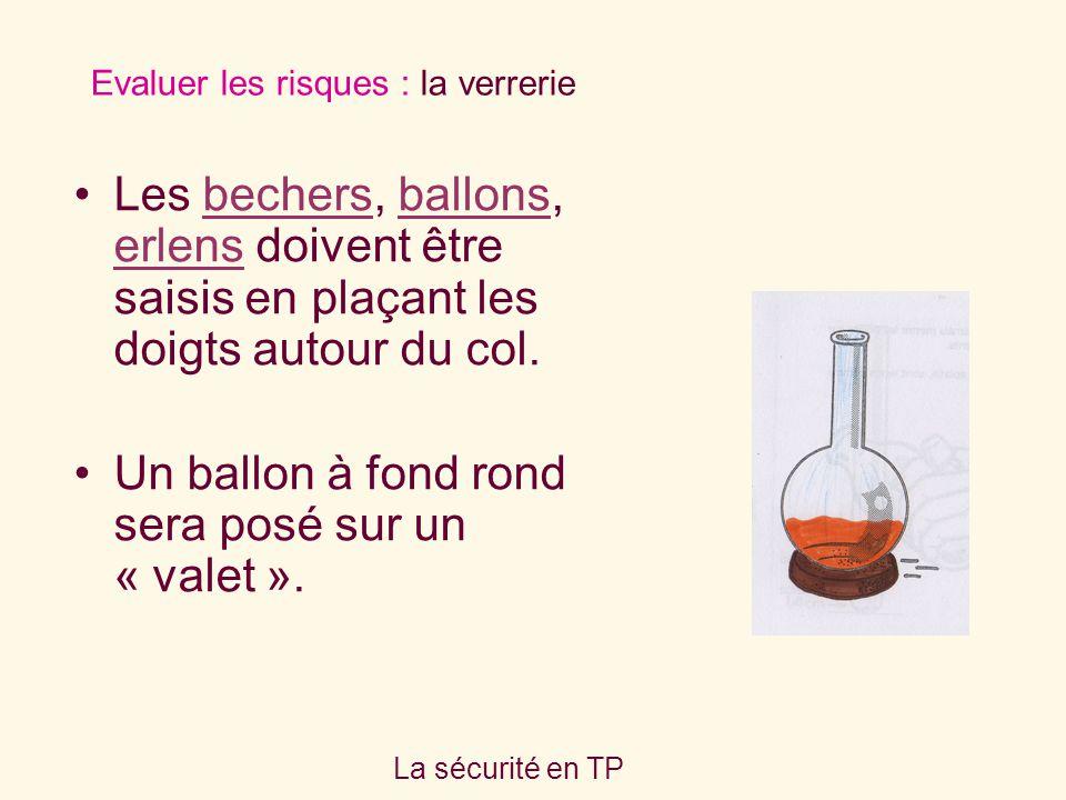 La sécurité en TP Les bechers, ballons, erlens doivent être saisis en plaçant les doigts autour du col.bechersballons erlens Un ballon à fond rond ser