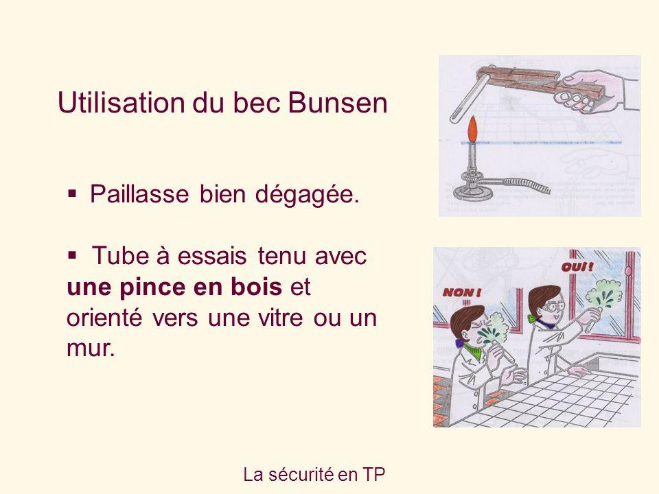 La sécurité en TP Utilisation du bec Bunsen Paillasse bien dégagée. Tube à essais tenu avec une pince en bois et orienté vers une vitre ou un mur.