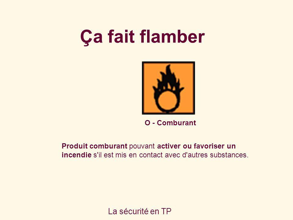 La sécurité en TP O - Comburant Produit comburant pouvant activer ou favoriser un incendie s'il est mis en contact avec d'autres substances. Ça fait f