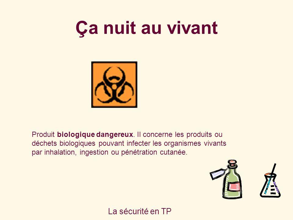 La sécurité en TP Produit biologique dangereux. Il concerne les produits ou déchets biologiques pouvant infecter les organismes vivants par inhalation