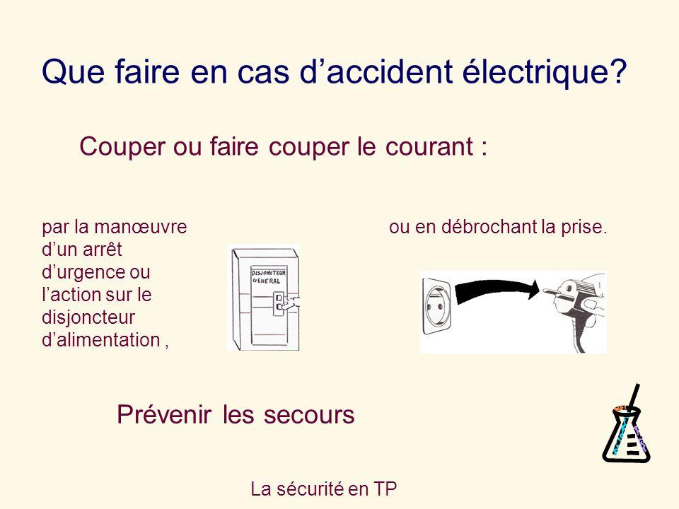 La sécurité en TP Que faire en cas daccident électrique? Prévenir les secours Couper ou faire couper le courant : par la manœuvre dun arrêt durgence o