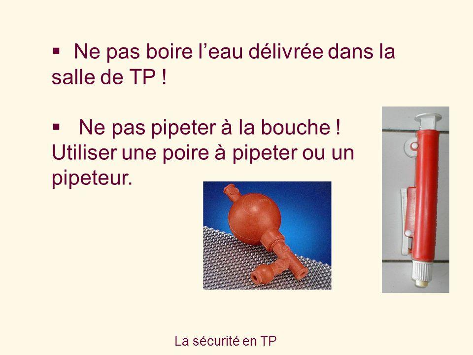 La sécurité en TP Ne pas boire leau délivrée dans la salle de TP ! Ne pas pipeter à la bouche ! Utiliser une poire à pipeter ou un pipeteur.
