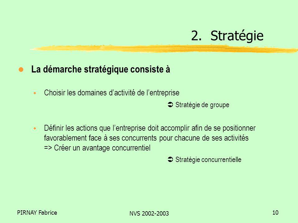 PIRNAY Fabrice NVS 2002-2003 10 l La démarche stratégique consiste à w Choisir les domaines dactivité de lentreprise Stratégie de groupe w Définir les actions que lentreprise doit accomplir afin de se positionner favorablement face à ses concurrents pour chacune de ses activités => Créer un avantage concurrentiel Stratégie concurrentielle 2.
