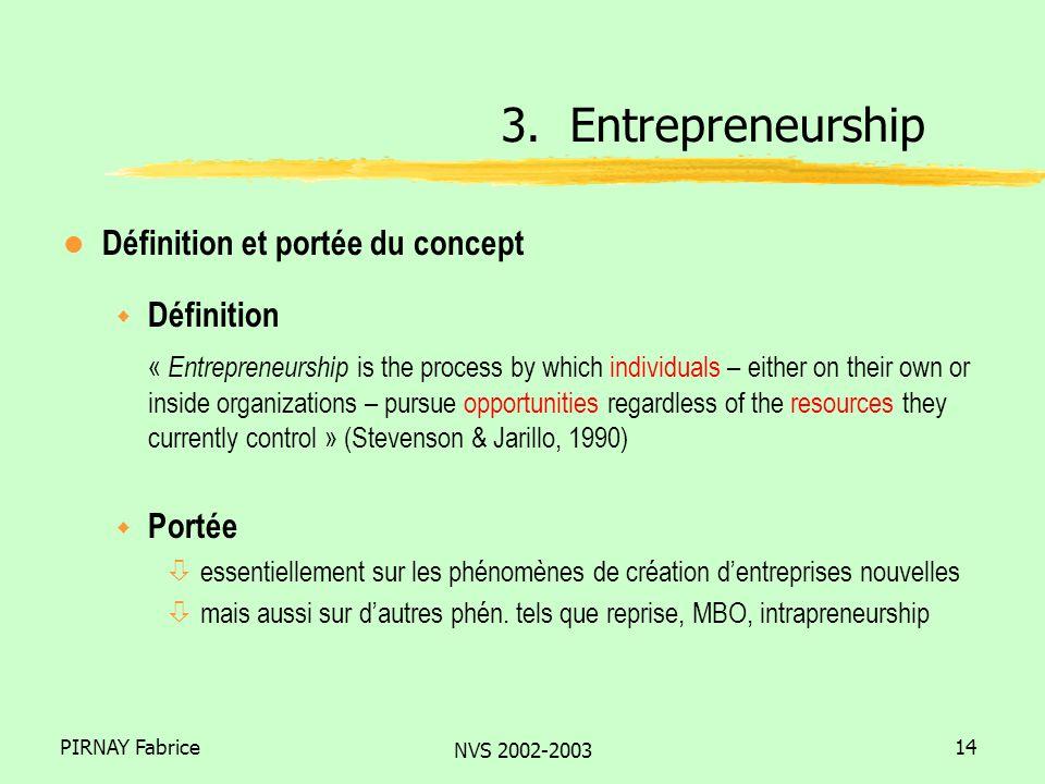 PIRNAY Fabrice NVS 2002-2003 14 l Définition et portée du concept w Définition « Entrepreneurship is the process by which individuals – either on thei