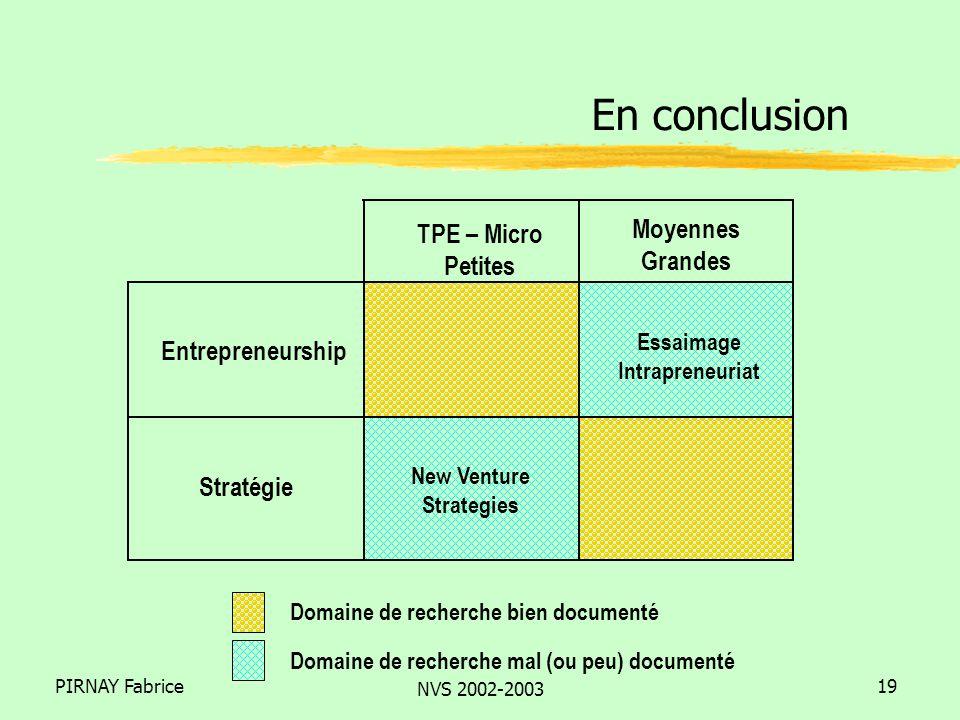 PIRNAY Fabrice NVS 2002-2003 19 En conclusion Domaine de recherche bien documenté Domaine de recherche mal (ou peu) documenté TPE – Micro Petites Moyennes Grandes Entrepreneurship Stratégie Essaimage Intrapreneuriat New Venture Strategies