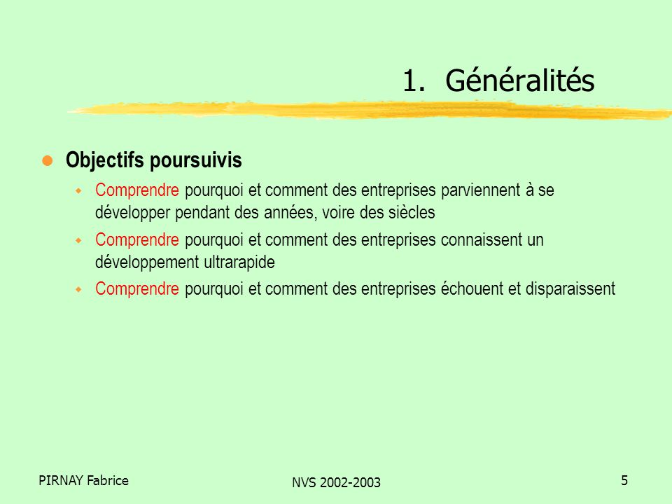 PIRNAY Fabrice NVS 2002-2003 6 l Calendrier des séances de cours (à confirmer) w Session 1 (30/01): Introduction to strategy and entrepreneurship w Session 2 (6/02): Cost strategy w Session 3 (13/02): Cost strategy (cont.) w Session 4 (20/02): Industry structure and strategy w Session 5 (27/02): Industry structure and strategy (cont.) w Session 6 (6/03): - w Session 7 (13/03): Industry structure and strategy (cont.) w Session 8 (20/03):First-mover : advantages and drawbacks w Session 9 (27/03): New economy : myths and realities w Session 10 (3/04):About start-ups and university spin-offs 1.