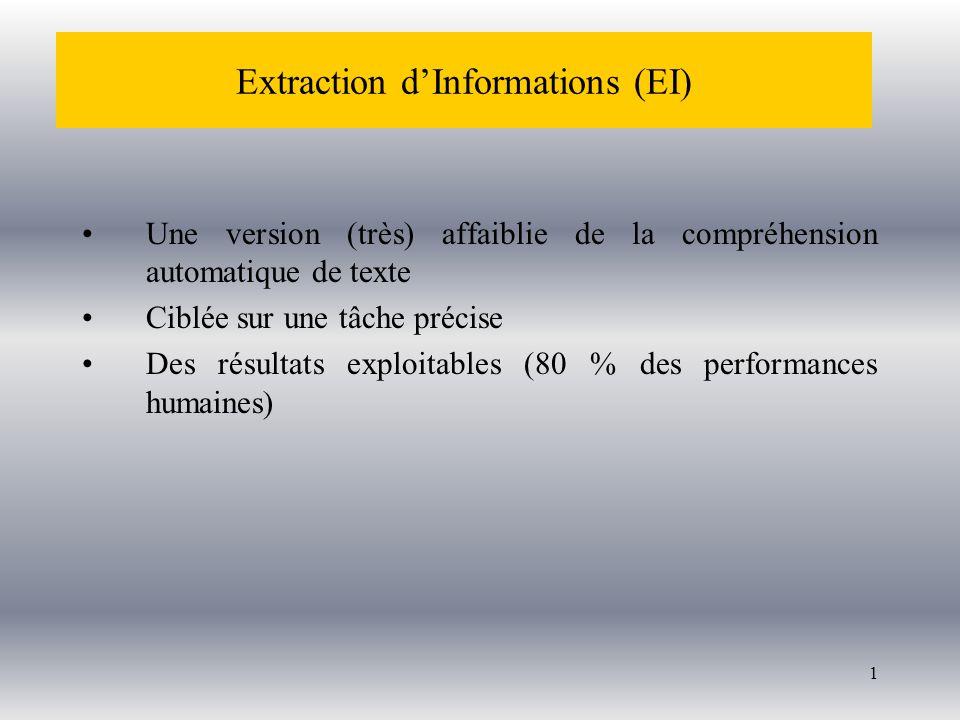 1 Une version (très) affaiblie de la compréhension automatique de texte Ciblée sur une tâche précise Des résultats exploitables (80 % des performances humaines) Extraction dInformations (EI)