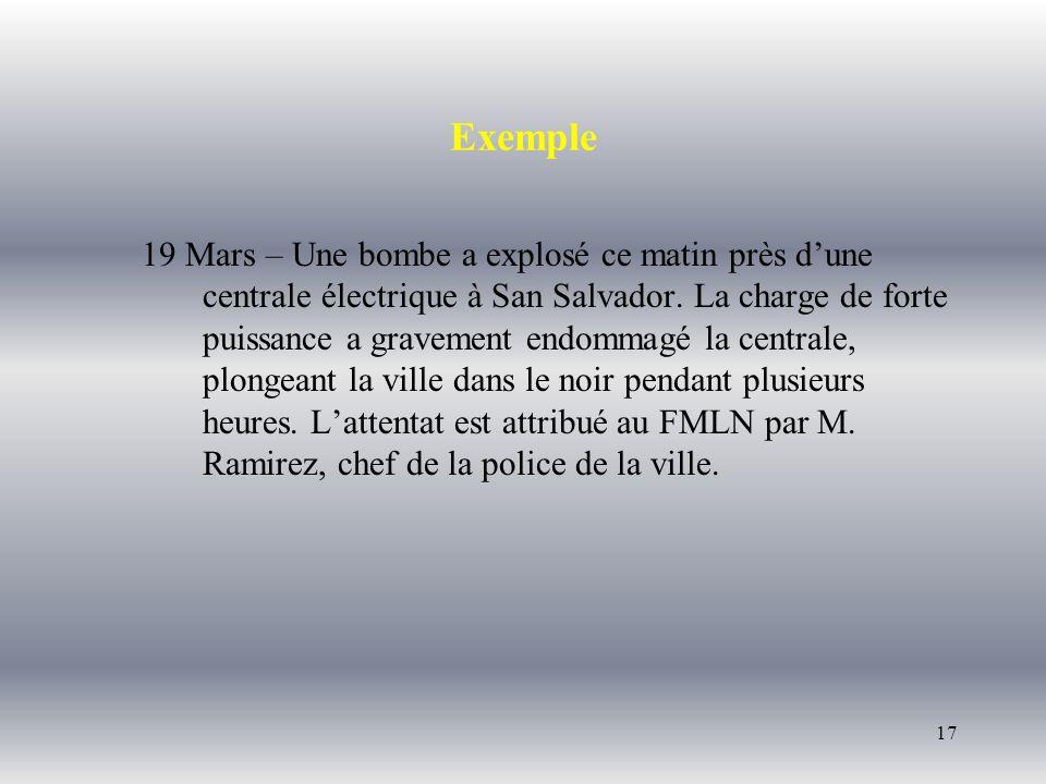 17 Exemple 19 Mars – Une bombe a explosé ce matin près dune centrale électrique à San Salvador. La charge de forte puissance a gravement endommagé la