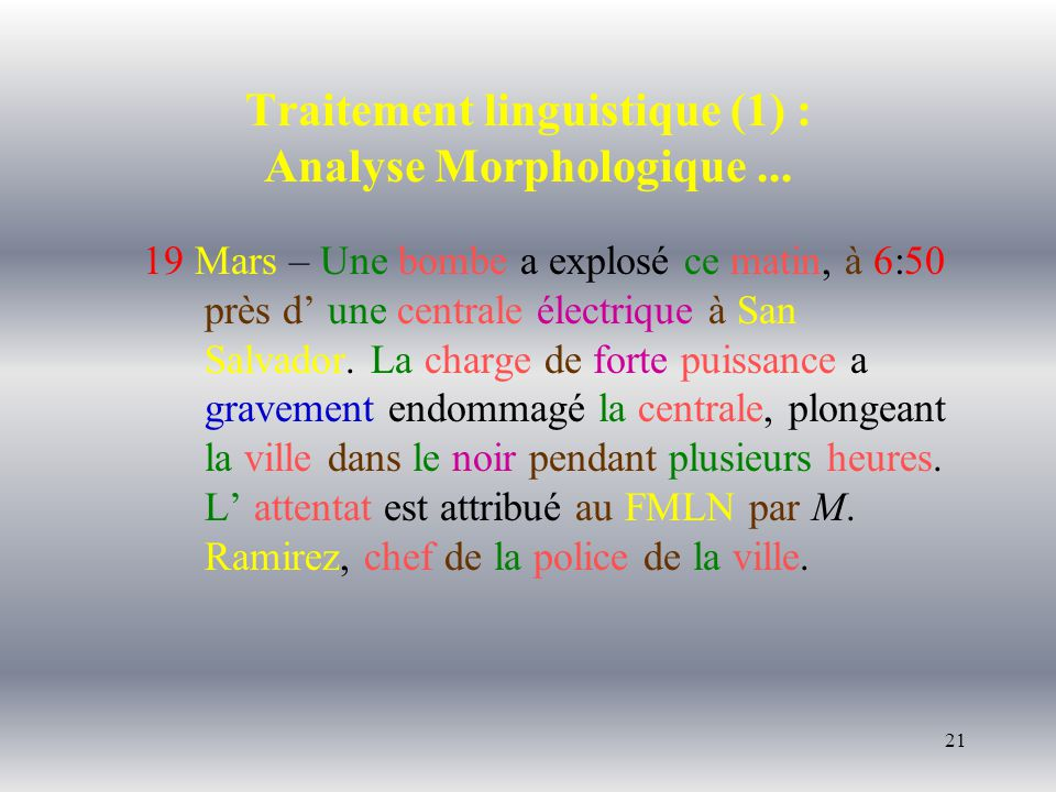 21 Traitement linguistique (1) : Analyse Morphologique...
