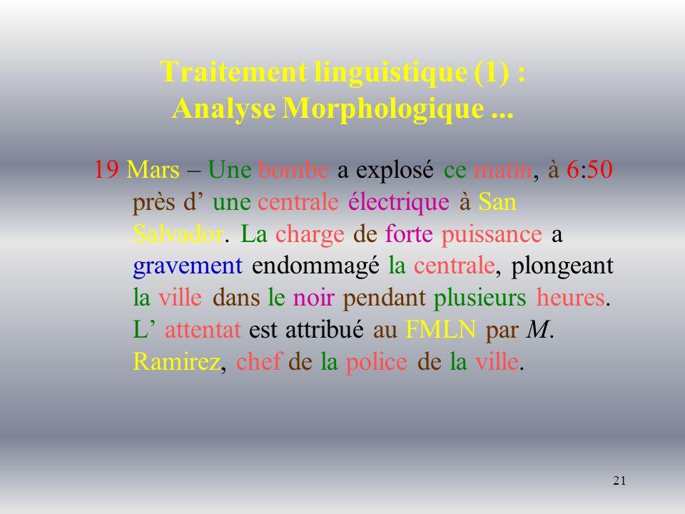 21 Traitement linguistique (1) : Analyse Morphologique... 19 Mars – Une bombe a explosé ce matin, à 6:50 près d une centrale électrique à San Salvador