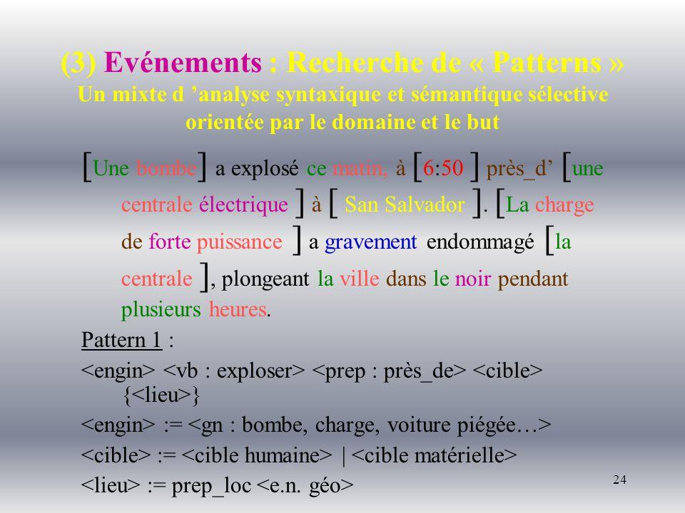 24 (3) Evénements : Recherche de « Patterns » Un mixte d analyse syntaxique et sémantique sélective orientée par le domaine et le but [ Une bombe ] a