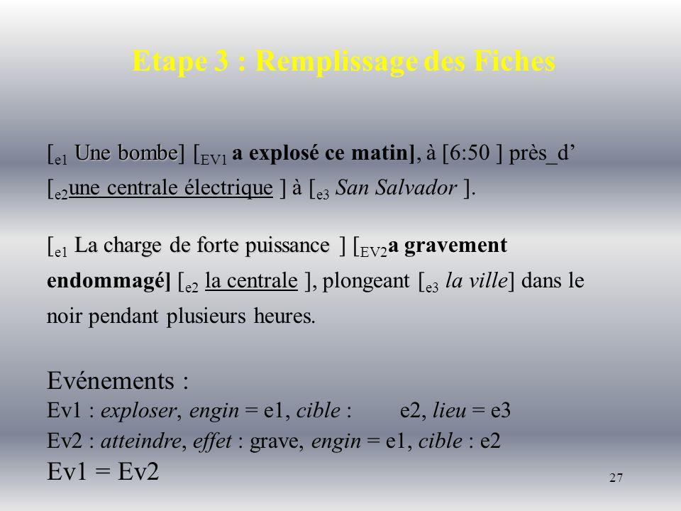 27 Etape 3 : Remplissage des Fiches Une bombe [ e1 Une bombe] [ EV1 a explosé ce matin], à [6:50 ] près_d [ e2 une centrale électrique ] à [ e3 San Sa