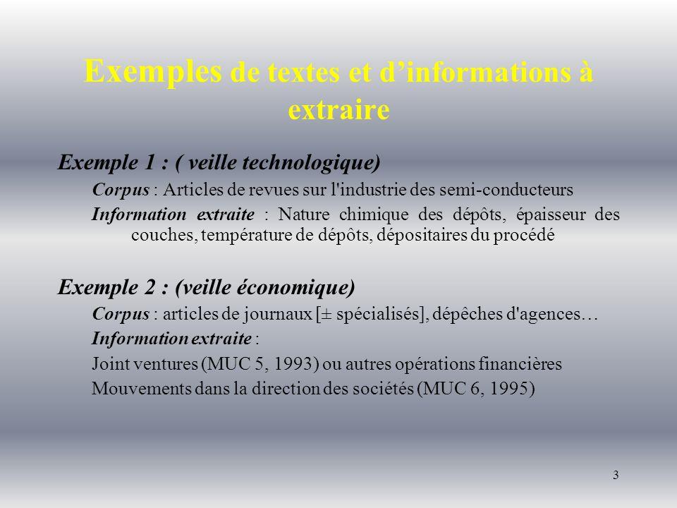 4 Exemple 3 : (informations politiques) Corpus : Articles de presse Information extraite : Descriptifs d attentats terroristes (MUC 3, 1991) Exemple 4 : (informations médicales, épidémiologie) Corpus : C.R.