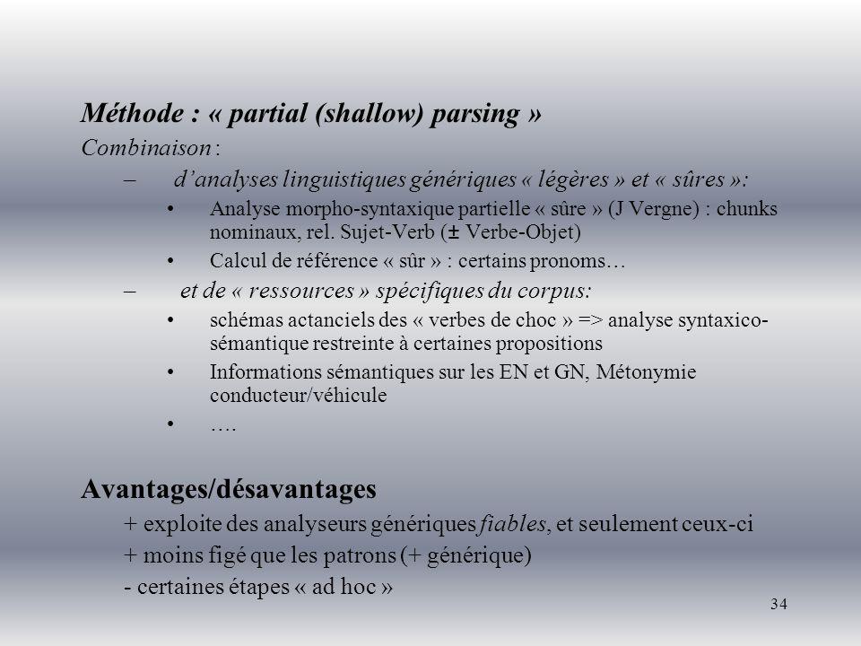34 Méthode : « partial (shallow) parsing » Combinaison : –danalyses linguistiques génériques « légères » et « sûres »: Analyse morpho-syntaxique parti