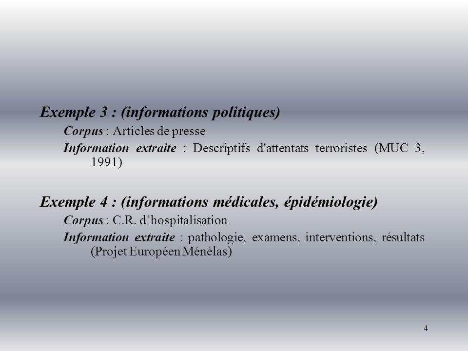 4 Exemple 3 : (informations politiques) Corpus : Articles de presse Information extraite : Descriptifs d'attentats terroristes (MUC 3, 1991) Exemple 4