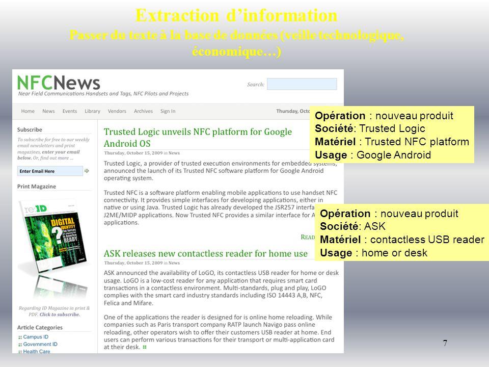 7 Extraction dinformation Passer du texte à la base de données (veille technologique, économique…) Opération : nouveau produit Société: Trusted Logic