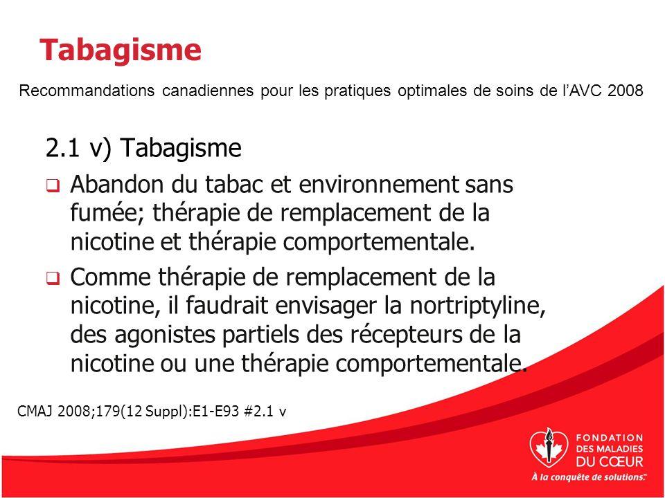 Tabagisme 2.1 v) Tabagisme Abandon du tabac et environnement sans fumée; thérapie de remplacement de la nicotine et thérapie comportementale. Comme th