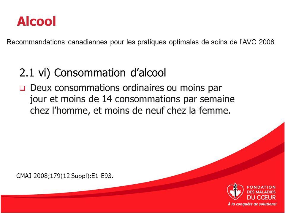 Alcool 2.1 vi) Consommation dalcool Deux consommations ordinaires ou moins par jour et moins de 14 consommations par semaine chez lhomme, et moins de