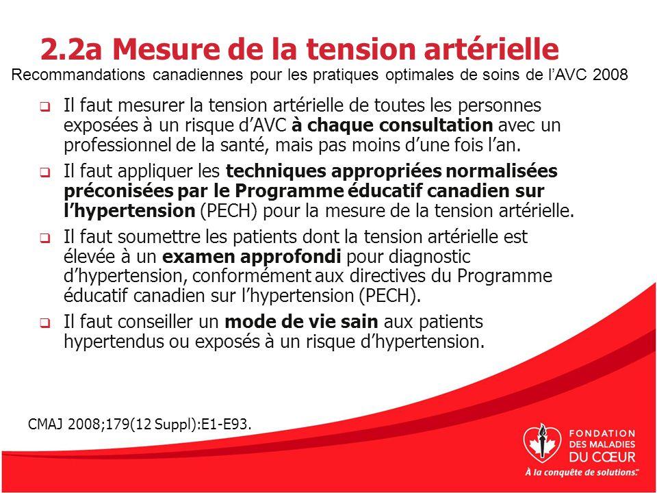 2.2a Mesure de la tension artérielle Il faut mesurer la tension artérielle de toutes les personnes exposées à un risque dAVC à chaque consultation ave