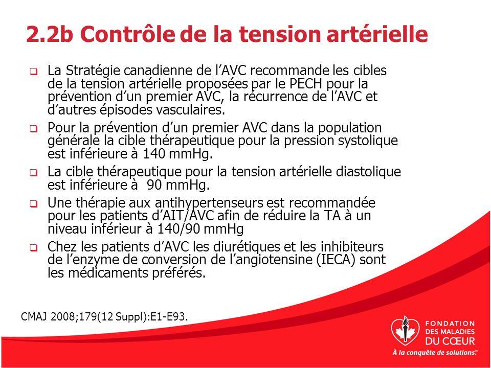 2.2b Contrôle de la tension artérielle La Stratégie canadienne de lAVC recommande les cibles de la tension artérielle proposées par le PECH pour la pr