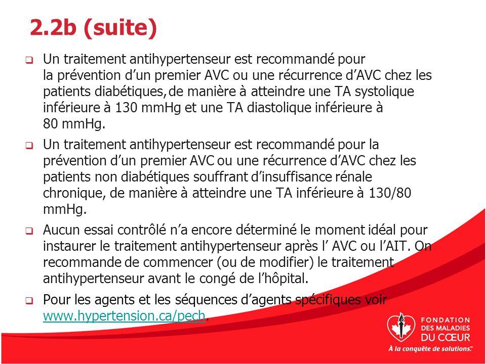 2.2b (suite) Un traitement antihypertenseur est recommandé pour la prévention dun premier AVC ou une récurrence dAVC chez les patients diabétiques,de
