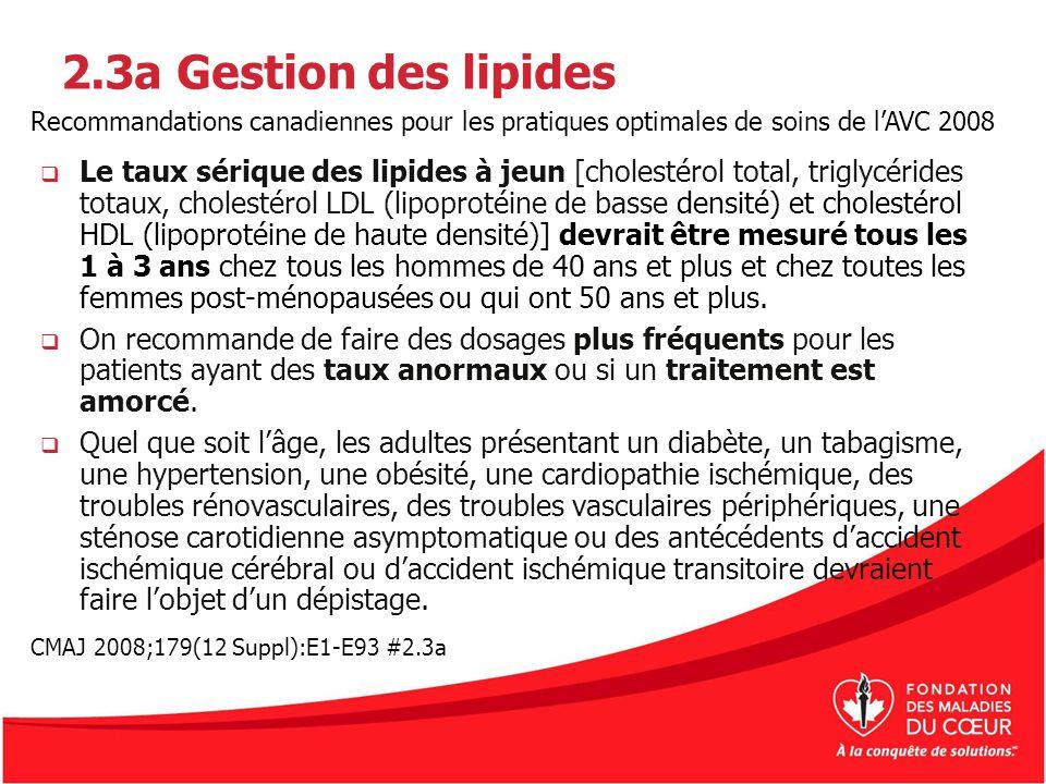 2.3a Gestion des lipides Le taux sérique des lipides à jeun [cholestérol total, triglycérides totaux, cholestérol LDL (lipoprotéine de basse densité)