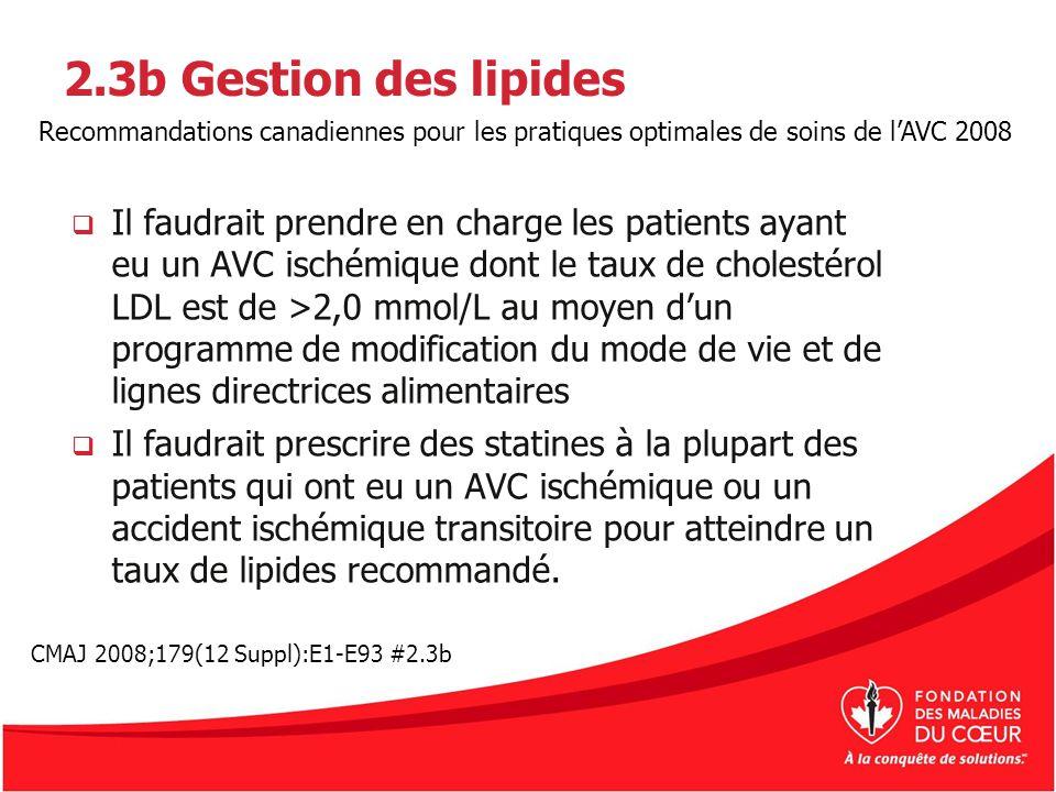 2.3b Gestion des lipides Il faudrait prendre en charge les patients ayant eu un AVC ischémique dont le taux de cholestérol LDL est de >2,0 mmol/L au m