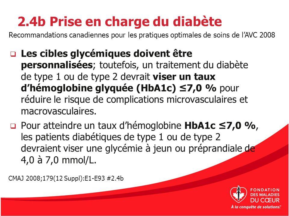2.4b Prise en charge du diabète Les cibles glycémiques doivent être personnalisées; toutefois, un traitement du diabète de type 1 ou de type 2 devrait