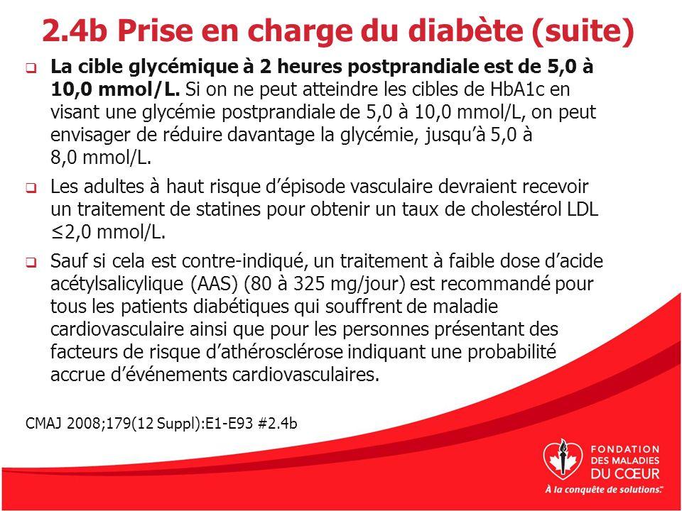 2.4b Prise en charge du diabète (suite) La cible glycémique à 2 heures postprandiale est de 5,0 à 10,0 mmol/L. Si on ne peut atteindre les cibles de H